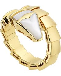 BVLGARI | Metallic Serpenti 18ct Yellow-gold And Mother-of-pearl Ring | Lyst