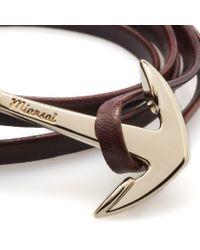 Miansai   Brown Brandy Leather Gold Anchor Bracelet for Men   Lyst