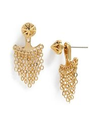Rebecca Minkoff | Metallic Diamond Pave Fringe Earrings - Gold/clear | Lyst