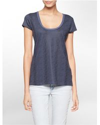 Calvin Klein - Blue Jeans Snake Print V-neck Short Sleeve Top - Lyst