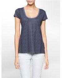 Calvin Klein | Blue Jeans Snake Print V-neck Short Sleeve Top | Lyst