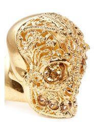 Alexander McQueen - Metallic Crystal Filigree Skull Ring - Lyst