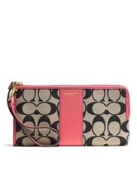 COACH - Pink Legacy L-Zip Wallet In Printed Signature Fabric - Lyst