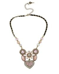 Betsey Johnson | Pink Crystallized Vintage Heart Six-piece Necklace | Lyst