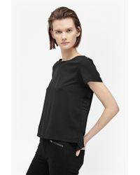 French Connection - Black Polly Plains Frill Back Top - Lyst