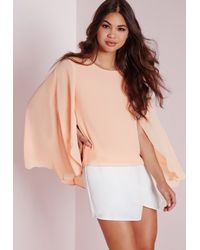 Missguided - Natural Chiffon Cape Back Blouse Blush - Lyst