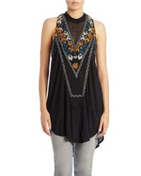 Free People | Black Embroidered Racerback Tunic | Lyst