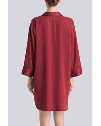 Natori - Red Solid Charmeuse Essentials Sleepshirt With Pocket - Lyst