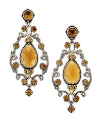 Konstantino - Brown Cognac & Citrine Chandelier Earrings - Lyst
