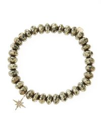 Sydney Evan | Metallic Champagne Pyrite Beaded Bracelet With 14k Gold/diamond Small Starburst Charm (made To Order) | Lyst