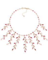 Carolee - Gold-Tone Pink Leaf Statement Drama Necklace - Lyst