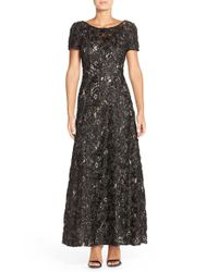 Alex Evenings | Black Sequin and Soutache Lace Gown | Lyst