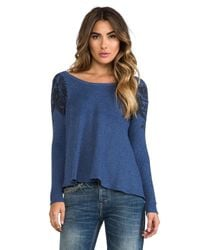 Free People | Blue Rockabilly Printed Raglan Top in Navy | Lyst