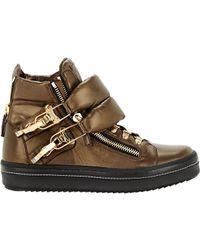 Giuseppe Zanotti - Brown Puffy-strap Double-zip Sneakers for Men - Lyst