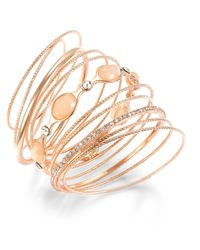 INC International Concepts - Rose Gold-tone Pink Stone And Crystal Ballet Bangle Set - Lyst