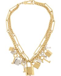 Marc By Marc Jacobs | Metallic Lock & Key Gold-Tone Crystal Necklace | Lyst