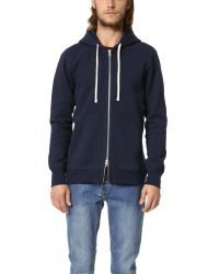 Steven Alan | Blue Heavyweight Full Zip Hoodie for Men | Lyst