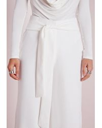 Missguided - Tie Belt Crepe Wide Leg Trousers White - Lyst