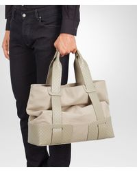 Bottega Veneta - Natural Sand Canvas Intreccio Scolpito Details Tote Bag for Men - Lyst