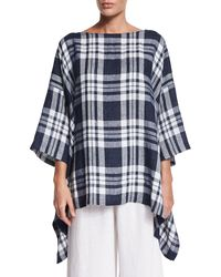 Eskandar - Blue 3/4-sleeve Check-print Top - Lyst