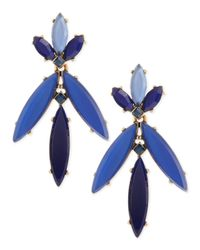 Oscar de la Renta - Blue Marquise Resin Drop Clip-On Earrings - Lyst