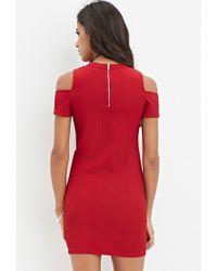 Forever 21 - Red Open-shoulder Ribbed Dress - Lyst