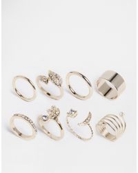 Lipsy | Metallic Moon Pave Multipack Rings | Lyst