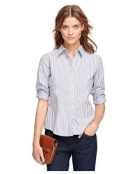 Brooks Brothers - Purple Non-iron Fitted Stripe Dress Shirt - Lyst