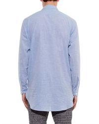 Raey - Blue Long-Line Half-Placket Cotton Shirt for Men - Lyst