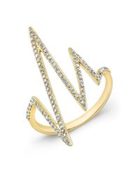 Anne Sisteron | Metallic 14kt Yellow Gold Diamond Heartbeat Ring | Lyst