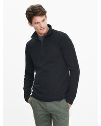 Banana Republic | Black Textured Half-zip Pullover for Men | Lyst