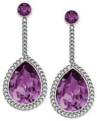 Swarovski | Purple Stainless Steel Amethyst Crystal Teardrop Earrings | Lyst