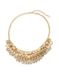 Cara | Metallic Mesh Chain And Graduated Stone Necklace | Lyst