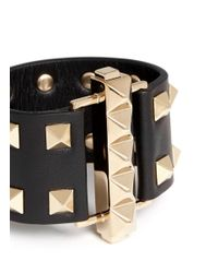 Valentino | Black 'rockstud' Tier Leather Bracelet | Lyst