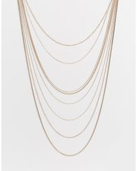 Lipsy | Metallic Fleur East By Multirow Snake Chain Necklace | Lyst