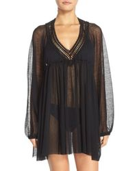 Robin Piccone - Black Crochet Trim Tunic Cover-up - Lyst