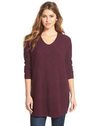 Bobeau | Purple V-neck Tunic Sweater | Lyst