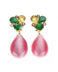 Bounkit | Green Onyx & Pink Cat'S Eye Earrings | Lyst
