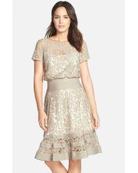 Tadashi Shoji | Natural Embroidered Lace & Pintuck Blouson Dress | Lyst