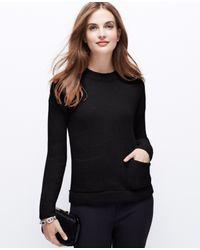 Ann Taylor - Black Petite Cozy Pocket Sweater - Lyst