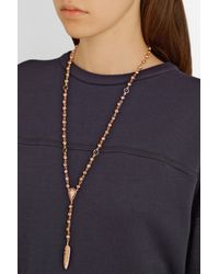 Pamela Love | Pink Feather Lariat Rose Gold-Plated, Onyx And Spinel Necklace | Lyst