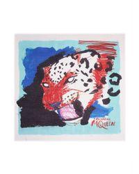 Alexander McQueen - Blue Sketch Leopard Print Modal-Silk Scarf - Lyst