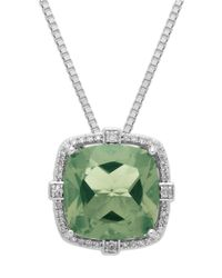 Lord & Taylor | Sterling Silver Green Amethyst And Diamond Pendant Necklace | Lyst