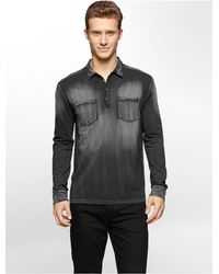 Calvin Klein | Black Jeans Slim Fit Acid Wash Long Sleeve Polo Shirt for Men | Lyst