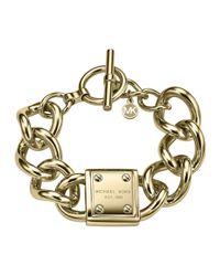 Michael Kors | Gray Logo-Plaque Link Bracelet | Lyst