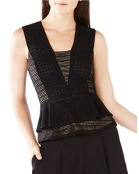 BCBGMAXAZRIA | Black Glorya Striped Mesh Peplum Top | Lyst