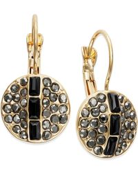 INC International Concepts | Black Gold-tone Jet Stone Disc Drop Earrings | Lyst