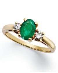 Macy's | Green 14k Gold Ring, Emerald (7/8 Ct. T.w.) And Diamond (1/5 Ct. T.w.) 3-stone Ring | Lyst