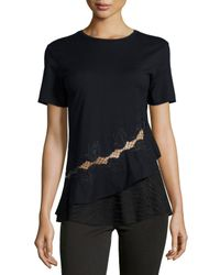 Thakoon - Black Cotton Jersey Top W/ Lace Detail - Lyst