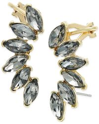 ABS By Allen Schwartz | Metallic Gold-tone Gray Marquise Stone Ear Climbers | Lyst